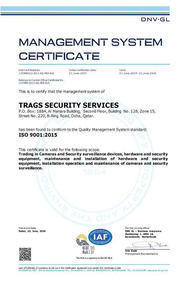 ISO 9001-2015 Trags Security Services
